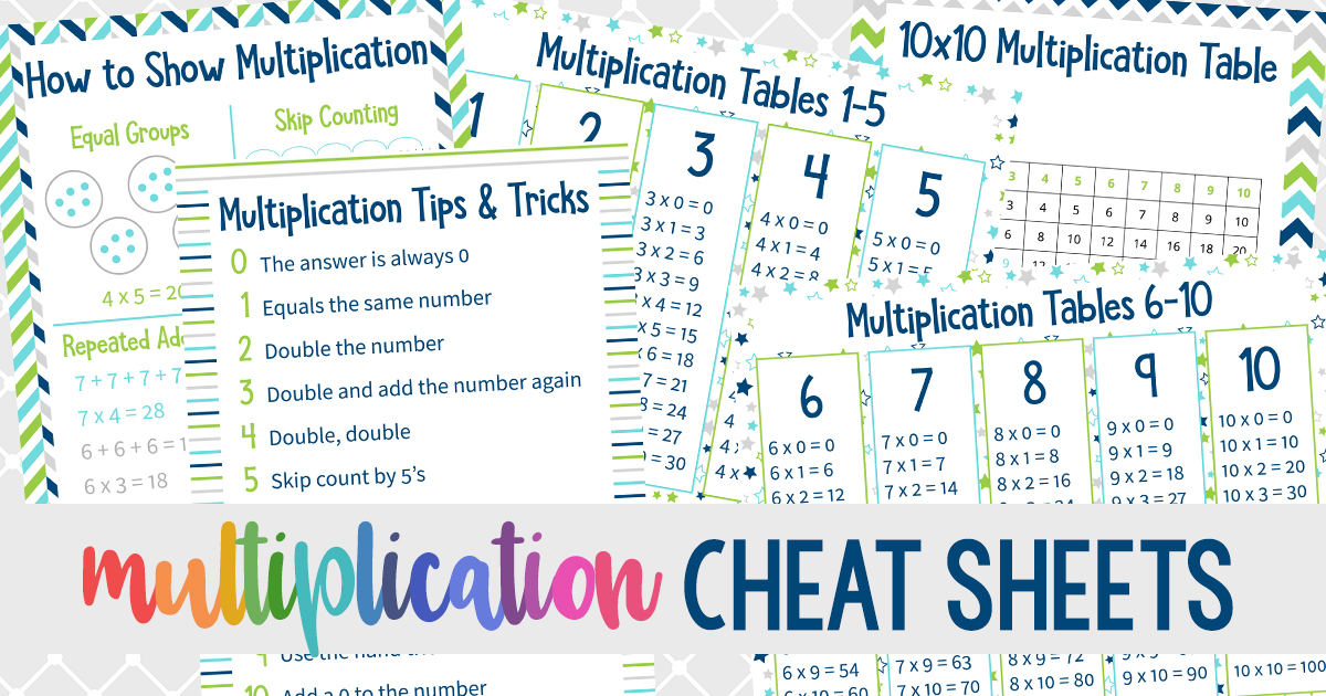 Multiplication Cheat Sheets Printable Multiplication Tips And Tricks