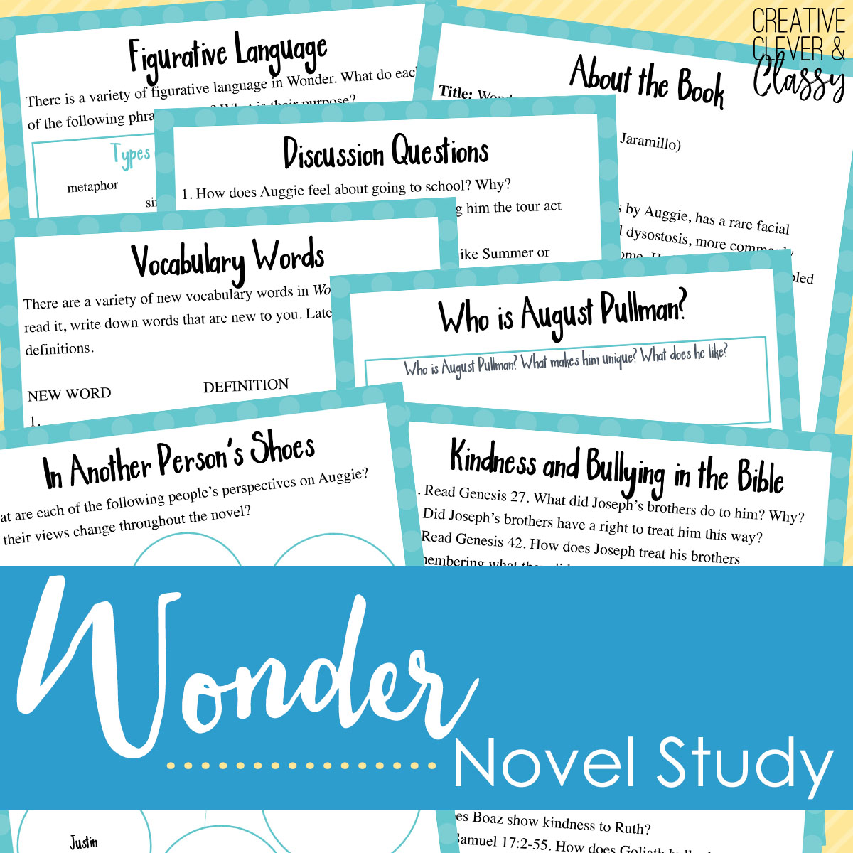 Explore one boy's wondrous story with this study guide! Grab it in my store  or at Teachers Pay Teachers.