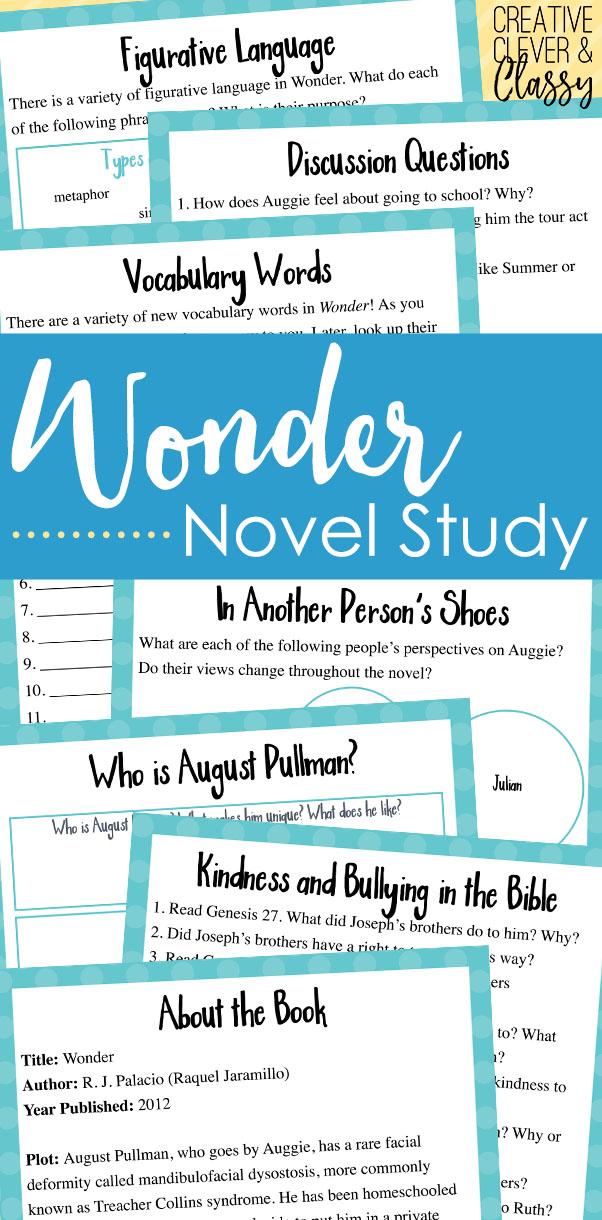 Wonder Novel Study: Lesson Plans With Worksheets