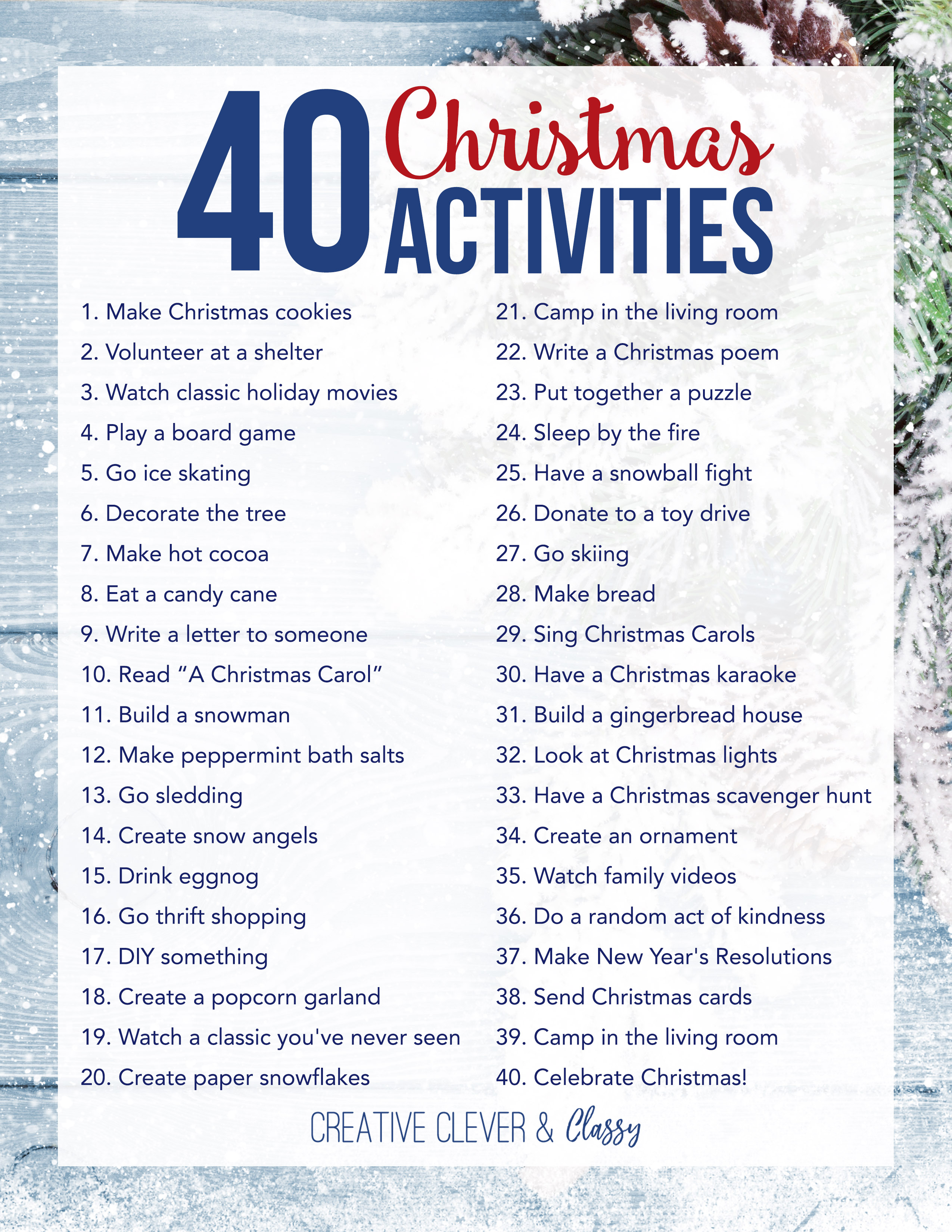 40 christmas activities for the family